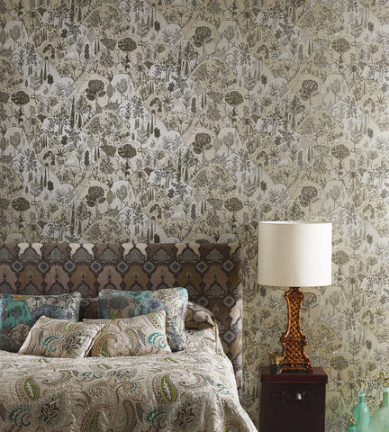 Aravali Wallpaper in Gilver by Matthew Williamson for Osborne & Little