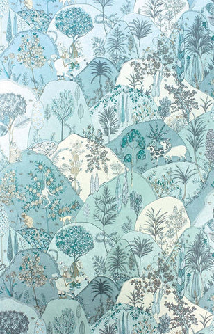 Aravali Wallpaper in Aqua by Matthew Williamson for Osborne & Little