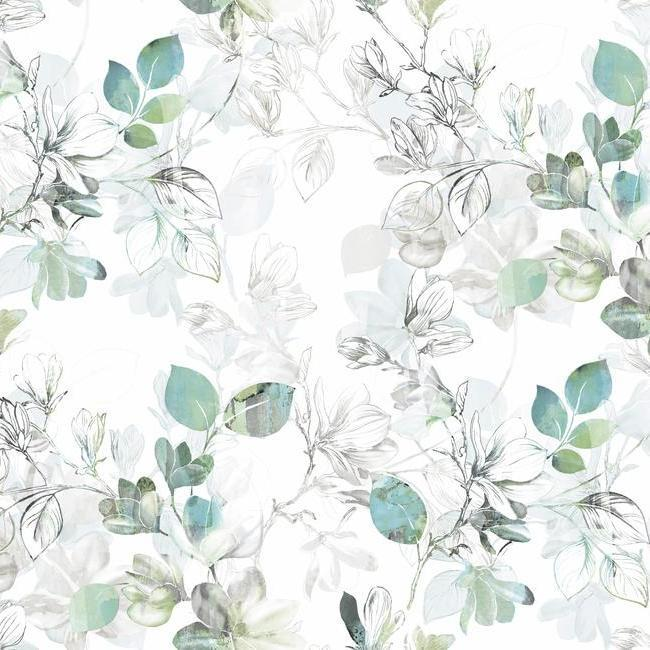 Arbor Vine Wallpaper in Blue and Green from the Impressionist Collection by York Wallcoverings