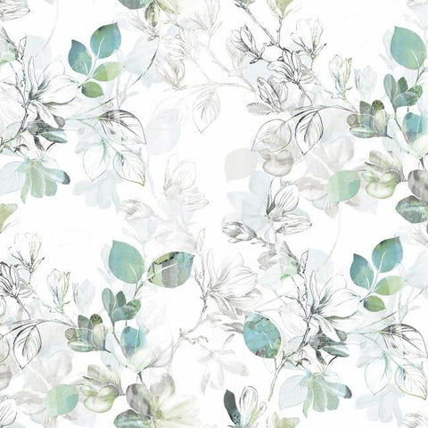 Sample Arbor Vine Wallpaper in Blue and Green from the Impressionist Collection by York Wallcoverings