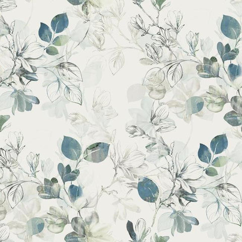 Sample Arbor Vine Wallpaper in Blue from the Impressionist Collection by York Wallcoverings