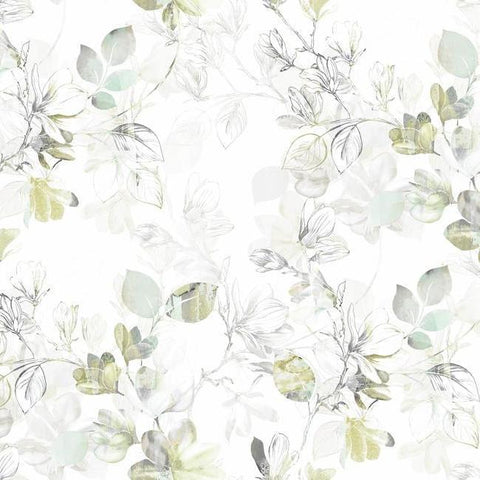Arbor Vine Wallpaper in Green from the Impressionist Collection by York Wallcoverings