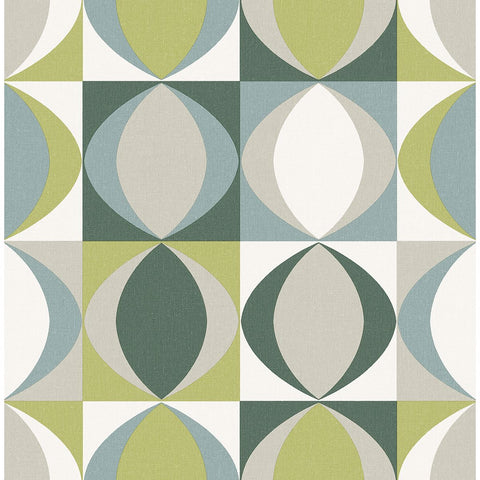 Archer Linen Geometric Wallpaper in Green from the Bluebell Collection by Brewster Home Fashions