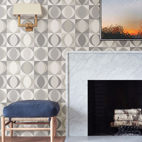 Archer Linen Geometric Wallpaper in Grey from the Bluebell Collection by Brewster Home Fashions