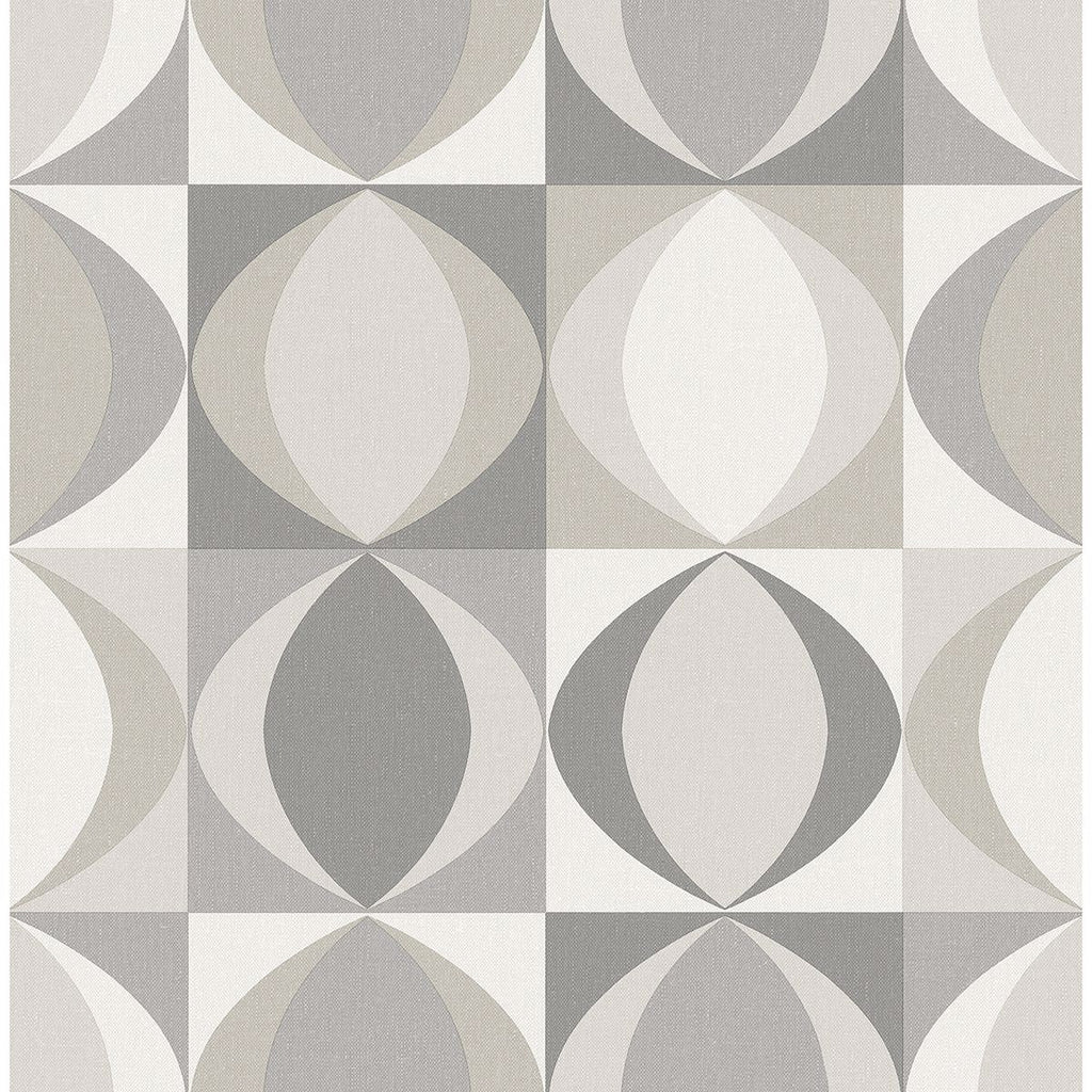 Sample Archer Linen Geometric Wallpaper in Grey from the Bluebell Collection by Brewster Home Fashions