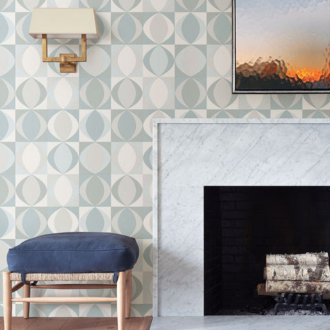 Archer Linen Geometric Wallpaper in Light Blue from the Bluebell Collection by Brewster Home Fashions