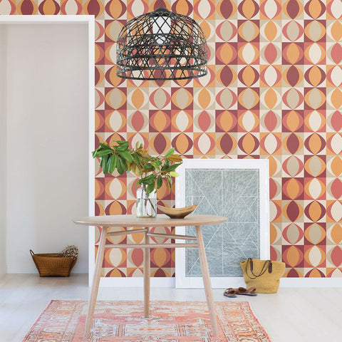 Archer Linen Geometric Wallpaper in Red from the Bluebell Collection by Brewster Home Fashions