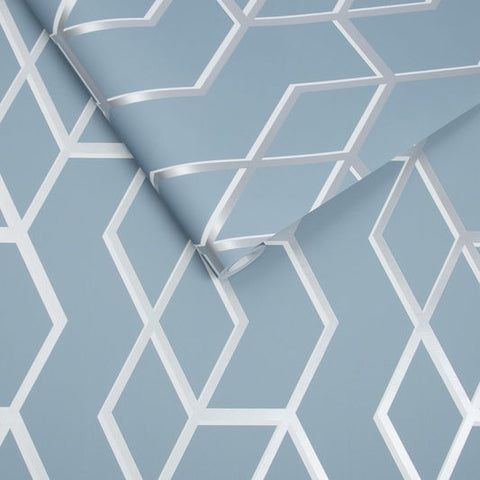 Archetype Wallpaper in Blue and Silver from the Exclusives Collection by Graham & Brown