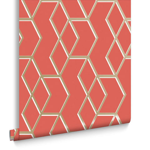 Archetype Wallpaper in Coral and Gold from the Exclusives Collection by Graham & Brown