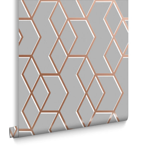 Archetype Wallpaper in Grey and Rose Gold from the Exclusives Collection by Graham & Brown