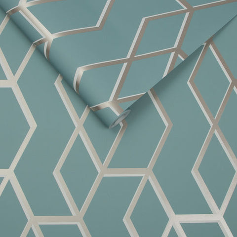 Archetype Wallpaper in Mint and White Gold from the Exclusives Collection by Graham & Brown