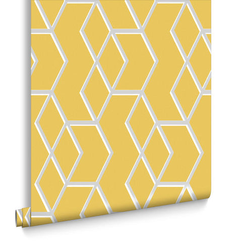 Archetype Wallpaper in Yellow and Silver from the Exclusives Collection by Graham & Brown
