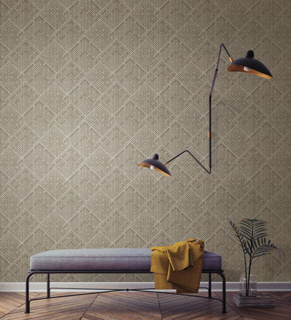 Architect Wallpaper in Brown from the Moderne Collection by Stacy Garcia for York Wallcoverings