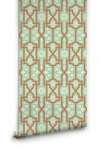 Architectural Wallpaper in Apricot Slice by Milton & King