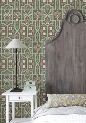 Architectural Wallpaper in Mint Slice by Milton & King