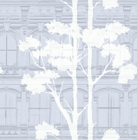 Architecture with Tree Shadow Wallpaper in Blue, Grey, and Cream from the Transition Collection by Mayflower