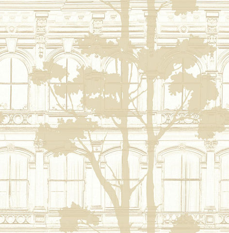 Architecture with Tree Shadow Wallpaper in Gold and Cream from the Transition Collection by Mayflower