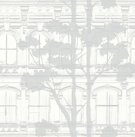 Architecture with Tree Shadow Wallpaper in Silver, Grey, and Cream from the Transition Collection by Mayflower