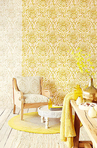 ... Argos Golden Green Damask Wallpaper From The Savor Collection By  Brewster Home Fashions