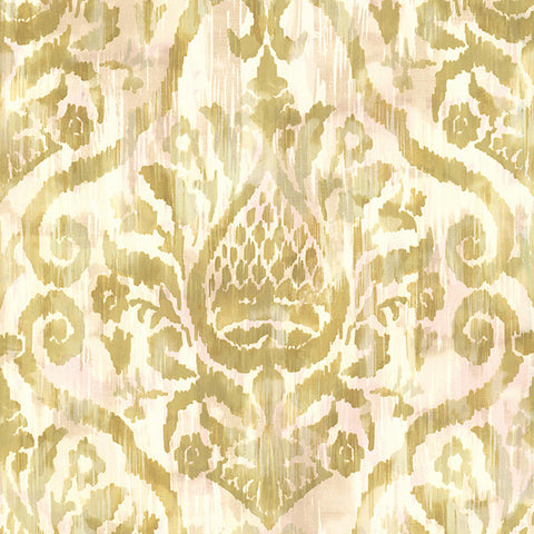 Argos Golden Green Damask Wallpaper from the Savor Collection by Brewster Home Fashions