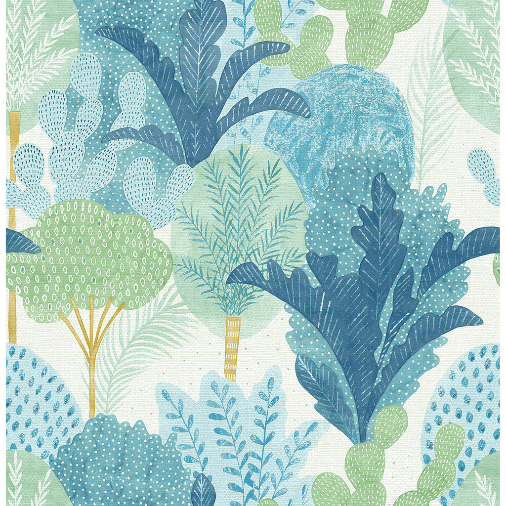 Ari Desert Oasis Wallpaper in Teal from the Pacifica Collection by Brewster Home Fashions