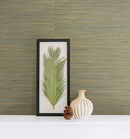 Arina Turquoise Grasscloth Wallpaper from the Jade Collection by Brewster Home Fashions