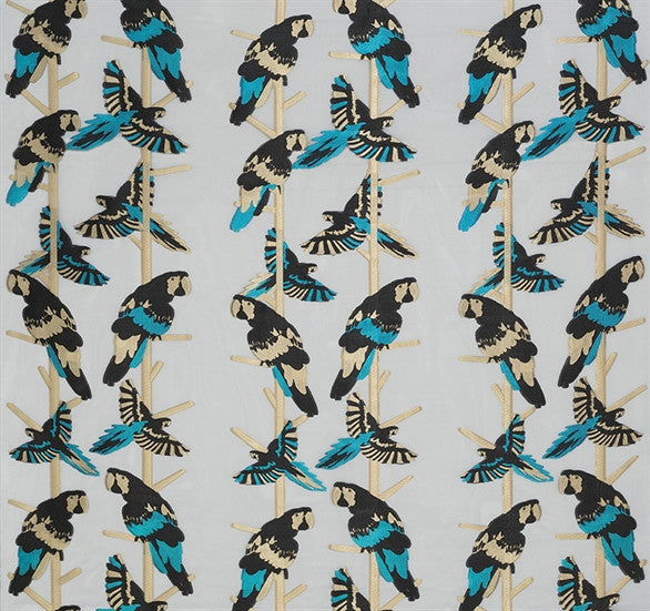 Sample Arini Sheer Fabric in Black and Turquoise by Matthew Williamson for Osborne & Little