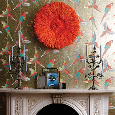 Arini Wallpaper in Antique Gold and Scarlet by Matthew Williamson for Osborne & Little