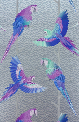 Arini Wallpaper in Metallic Silver and Purple by Matthew Williamson for Osborne & Little