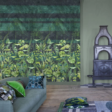 Arjuna Leaf Wall Mural in Viridian from the Zardozi Collection by Designers Guild