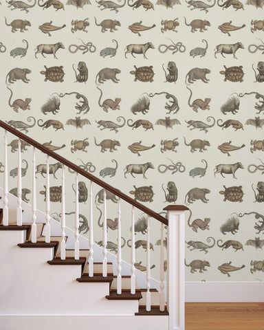 Ark of Seba Wallpaper in Grey and Taupe from the Eclectic Collection by Mind the Gap