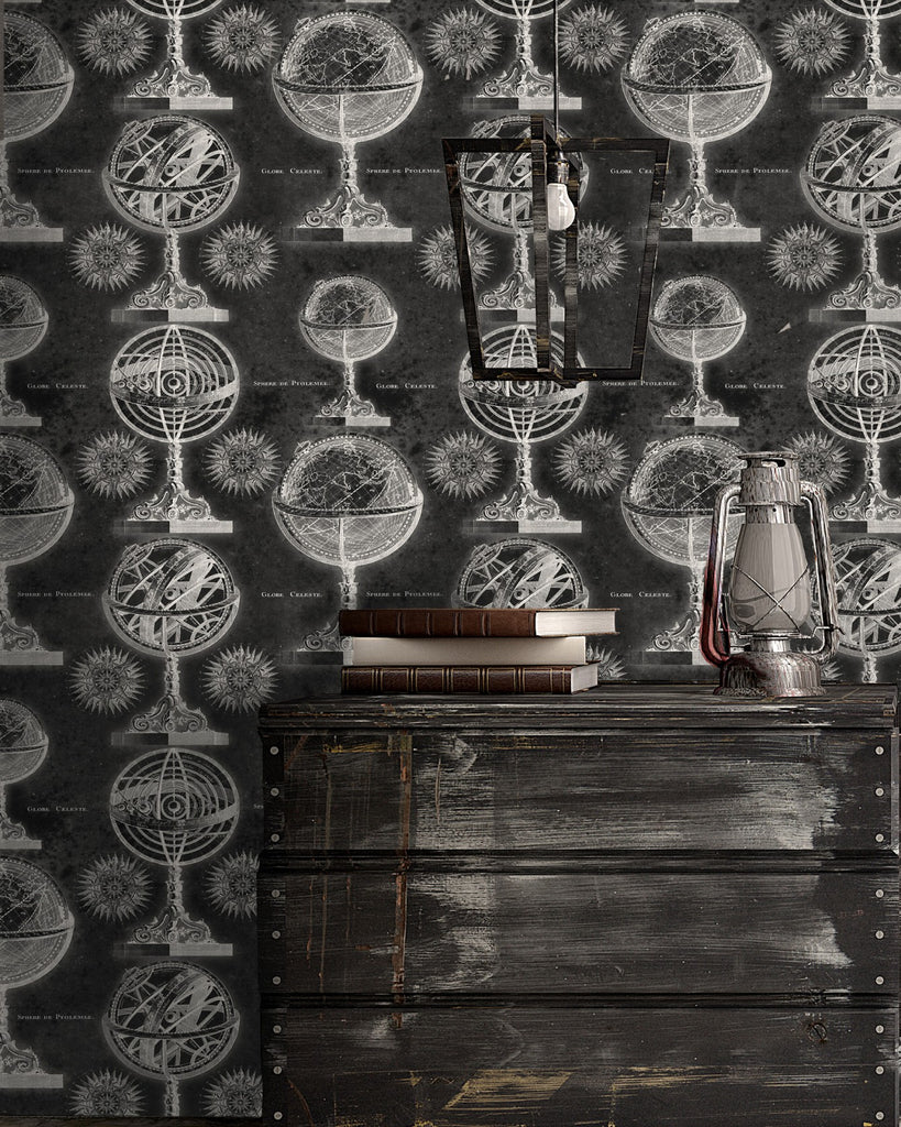 Armillary Wallpaper in Anthracite from the Eclectic Collection by Mind the Gap