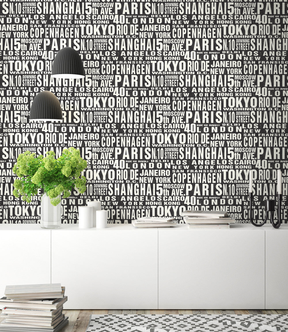 Around The World Peel And Stick Wallpaper In Black And White