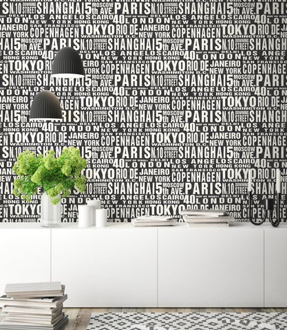 Around The World Peel-and-Stick Wallpaper in Black and White by NextWall