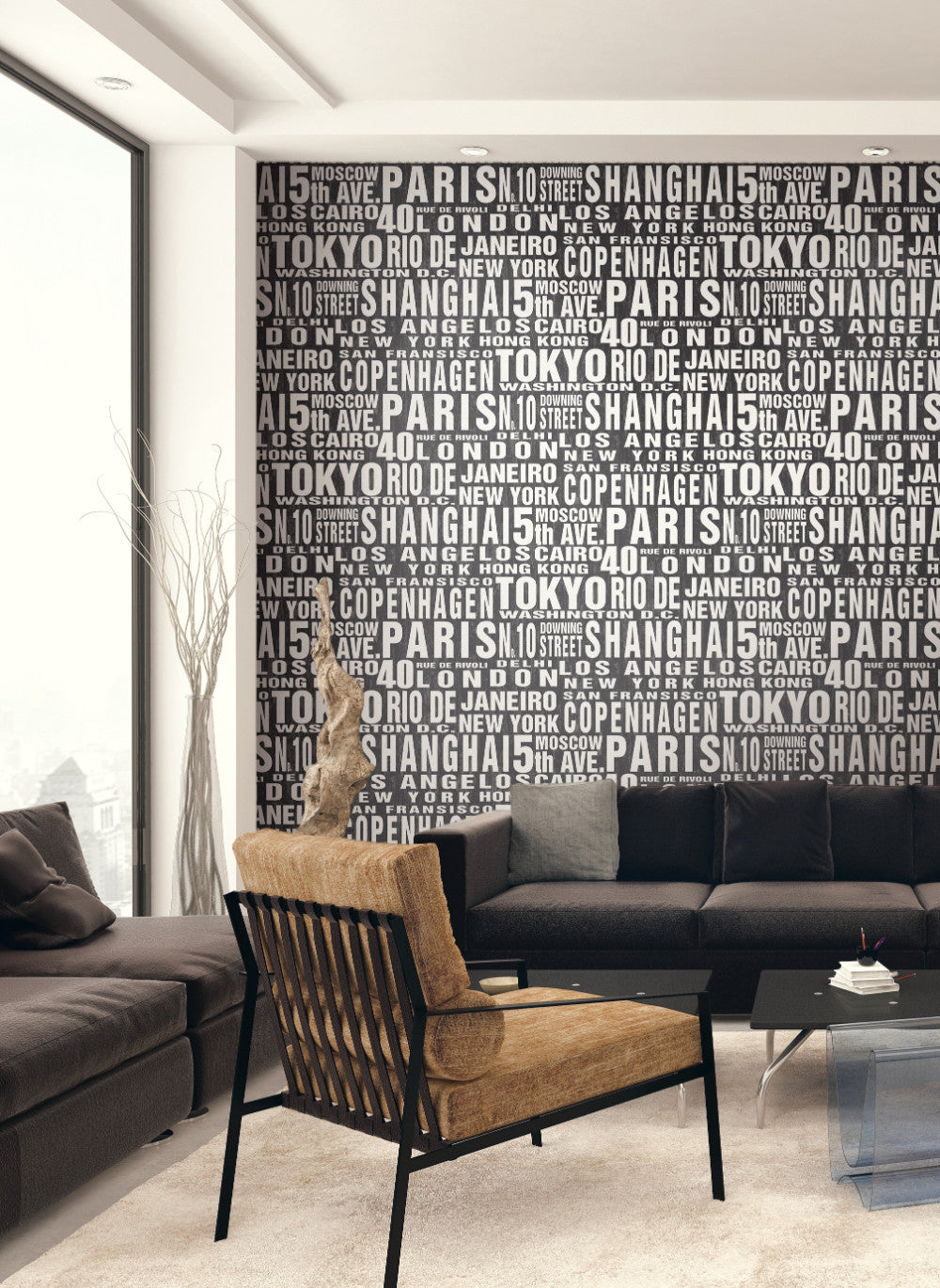Around The World Peel and Stick Wallpaper in Black and White by NextWall