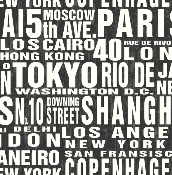 Around The World Peel And Stick Wallpaper In Black And White By Nextwa Burke Decor