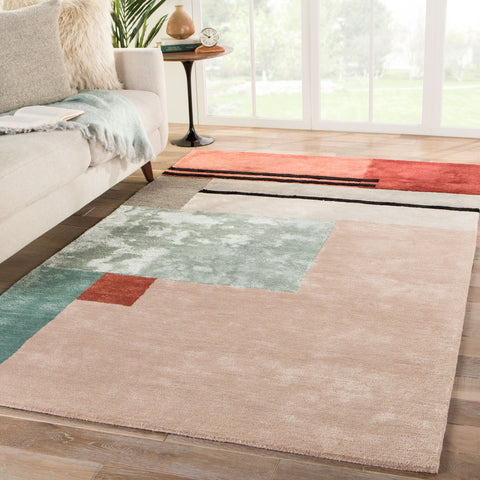 Segment Handmade Geometric Pink/ Red Area Rug by Jaipur Living