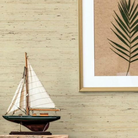 Arrowroot Grasscloth Wallpaper in Cream from the Water's Edge Collection by York Wallcoverings