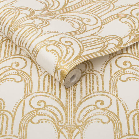 Art Deco Wallpaper in Gold and Pearl from the Exclusives Collection by Graham & Brown