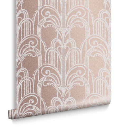 Art Deco Wallpaper in Rose Gold from the Exclusives Collection by Graham & Brown