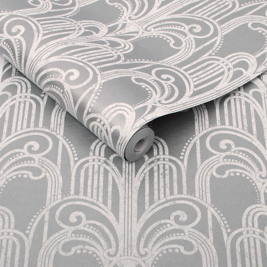 Sample Art Deco Wallpaper in Silver from the Exclusives Collection by Graham & Brown