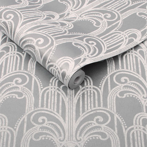 Art Deco Wallpaper in Silver from the Exclusives Collection by Graham & Brown