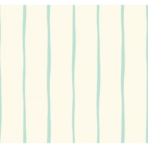 Aruba Stripe Wallpaper in Ivory and Aqua from the Tortuga Collection by Seabrook Wallcoverings
