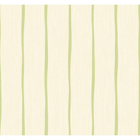 Aruba Stripe Wallpaper in Ivory and Green from the Tortuga Collection by Seabrook Wallcoverings
