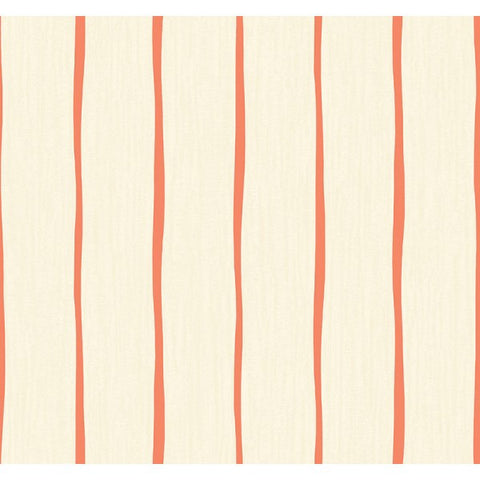 Aruba Stripe Wallpaper in Ivory and Orange from the Tortuga Collection by Seabrook Wallcoverings
