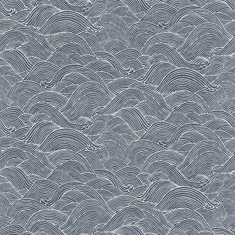 Sample Asian Ocean Waves Wallpaper in Dark Blue by Walls Republic