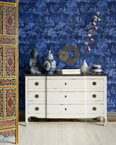 Asian Scenery Wallpaper in Indigo from the Wallpaper Compendium Collection by Mind the Gap