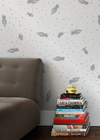 Astrobots Wallpaper in Glimmer design by Aimee Wilder