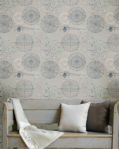 Astronomy Wallpaper in Blue and Grey from the Eclectic Collection by Mind the Gap