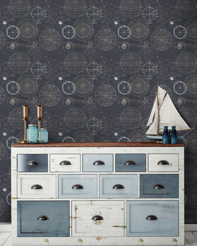 Astronomy Wallpaper in Blue from the Eclectic Collection by Mind the Gap